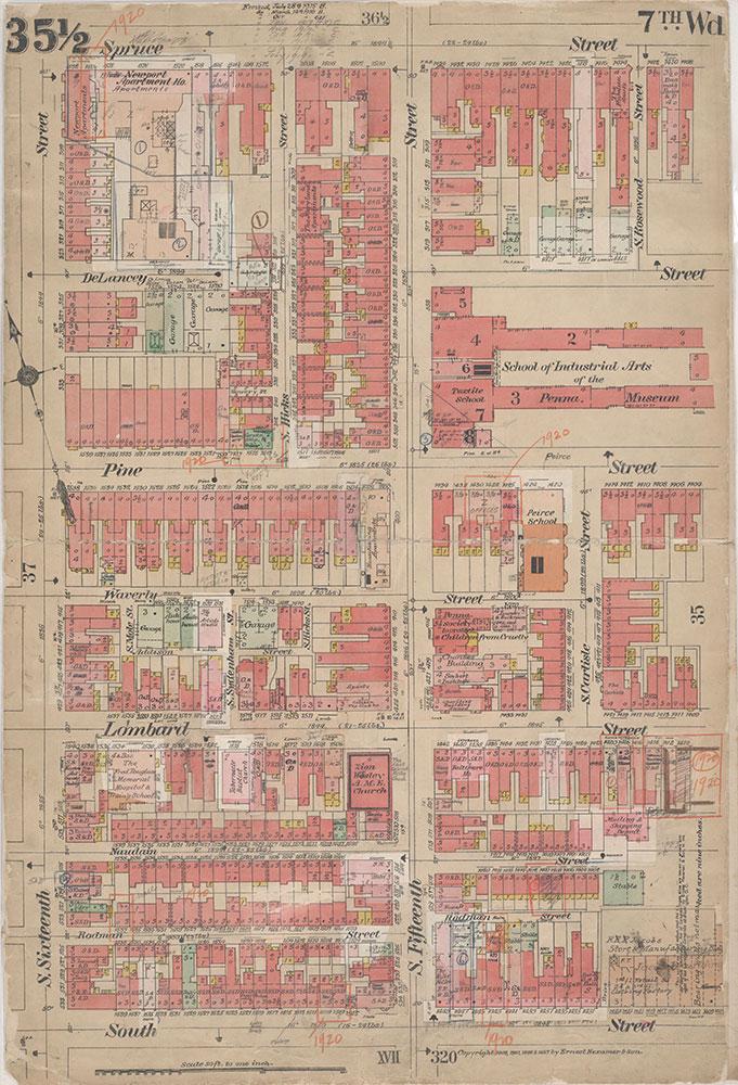 Insurance Maps of the City of Philadelphia, 1908-1920, Plate 35 1/2