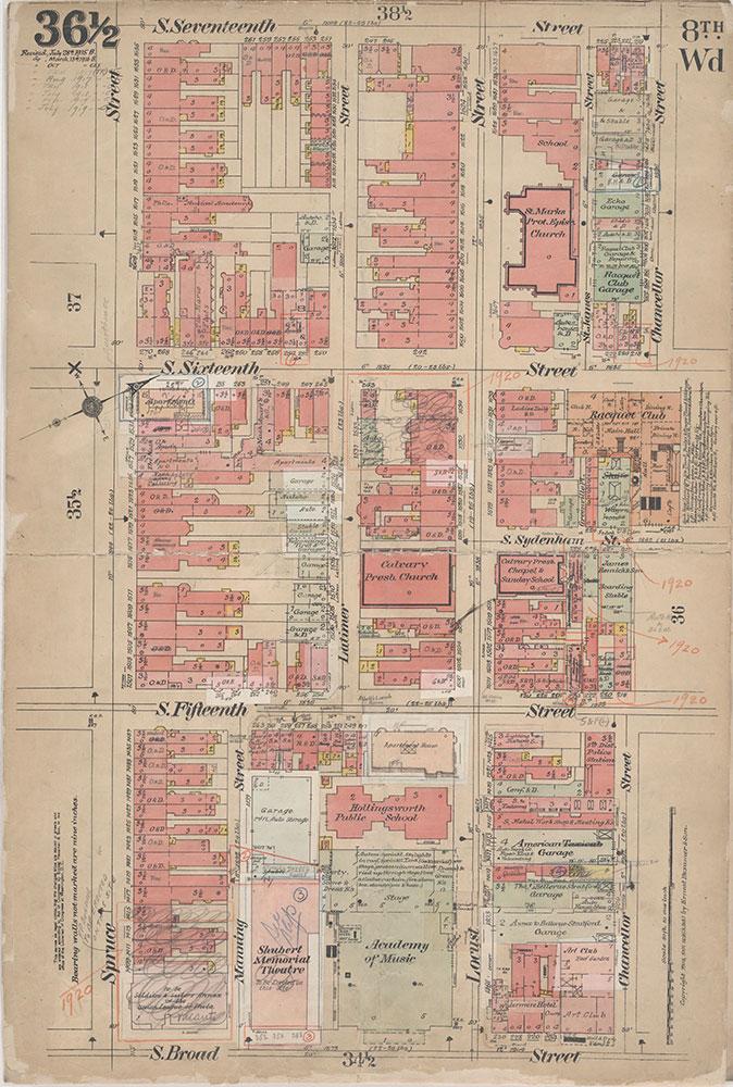 Insurance Maps of the City of Philadelphia, 1908-1920, Plate 36 1/2