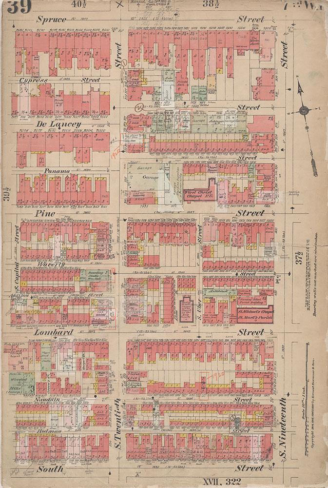 Insurance Maps of the City of Philadelphia, 1908-1920, Plate 39