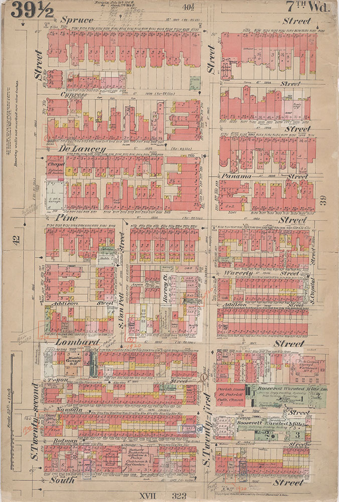 Insurance Maps of the City of Philadelphia, 1908-1920, Plate 39 1/2
