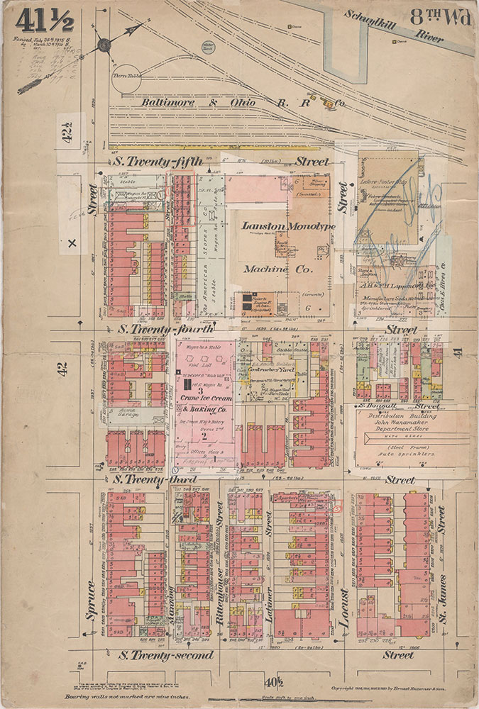 Insurance Maps of the City of Philadelphia, 1908-1920, Plate 41 1/2