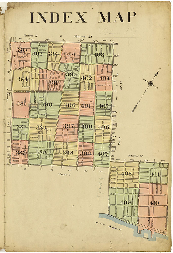 Insurance Maps of the City of Philadelphia, 1913-1918, Map Index