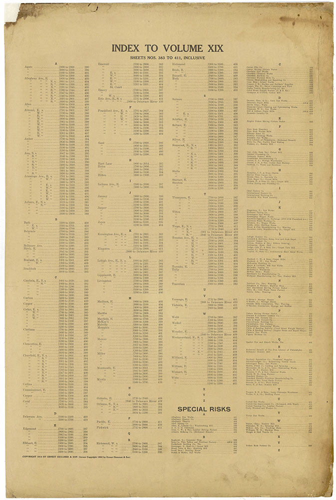 Insurance Maps of the City of Philadelphia, 1913-1918, Street Index & Special Risks