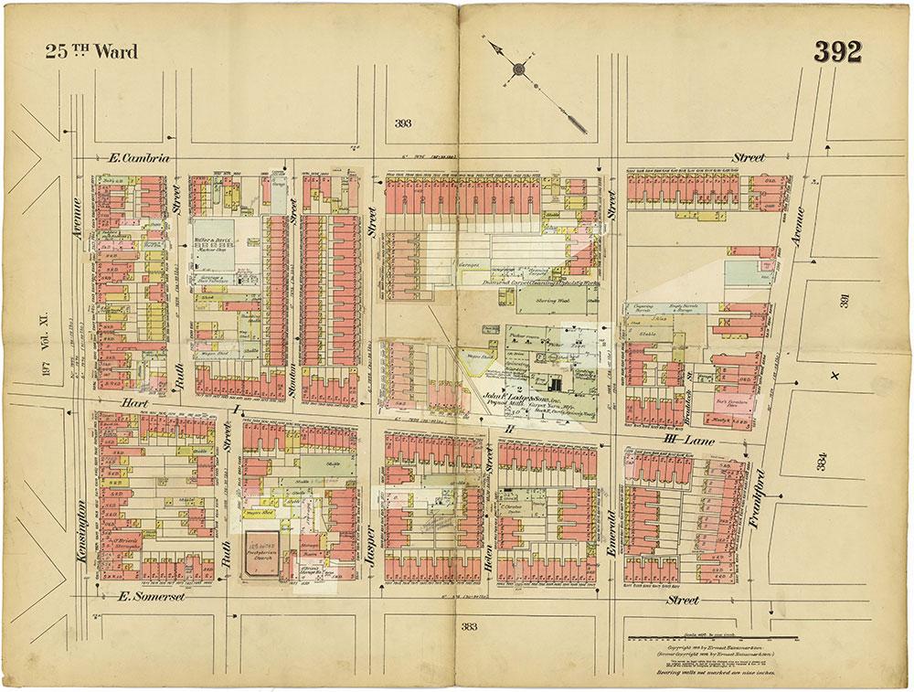 Insurance Maps of the City of Philadelphia, 1913-1918, Plate 392