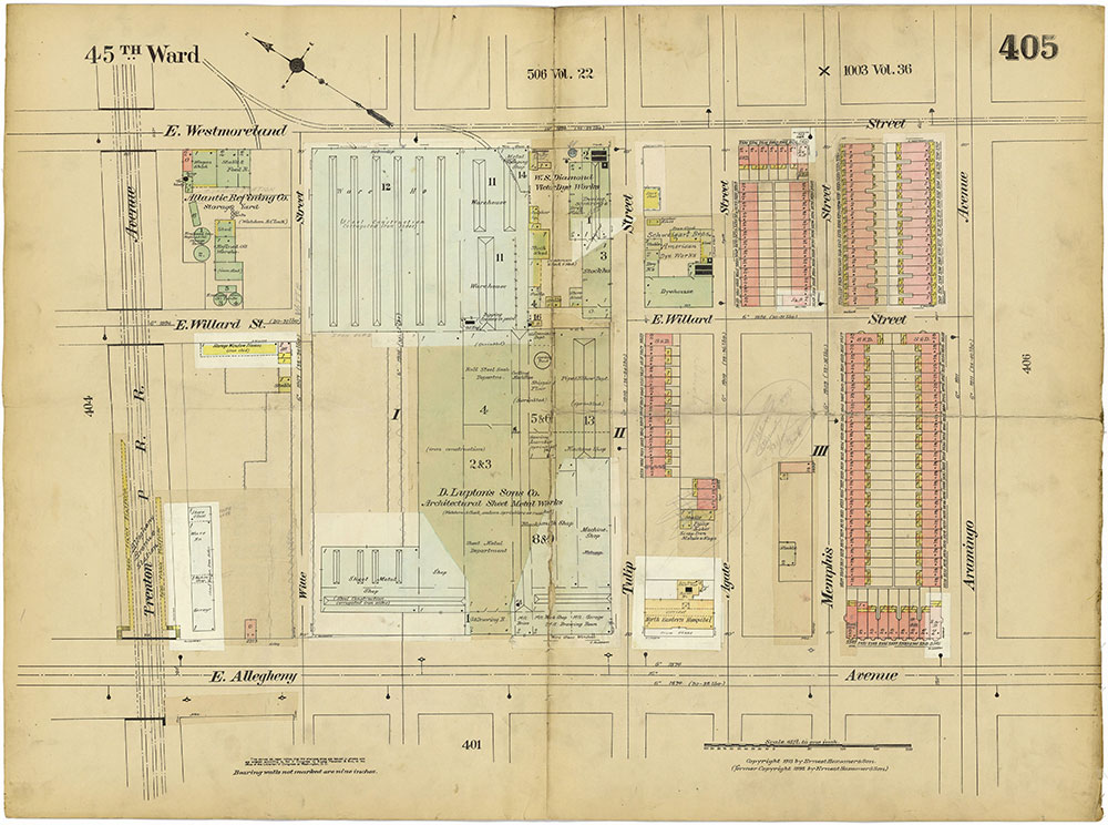 Insurance Maps of the City of Philadelphia, 1913-1918, Plate 405