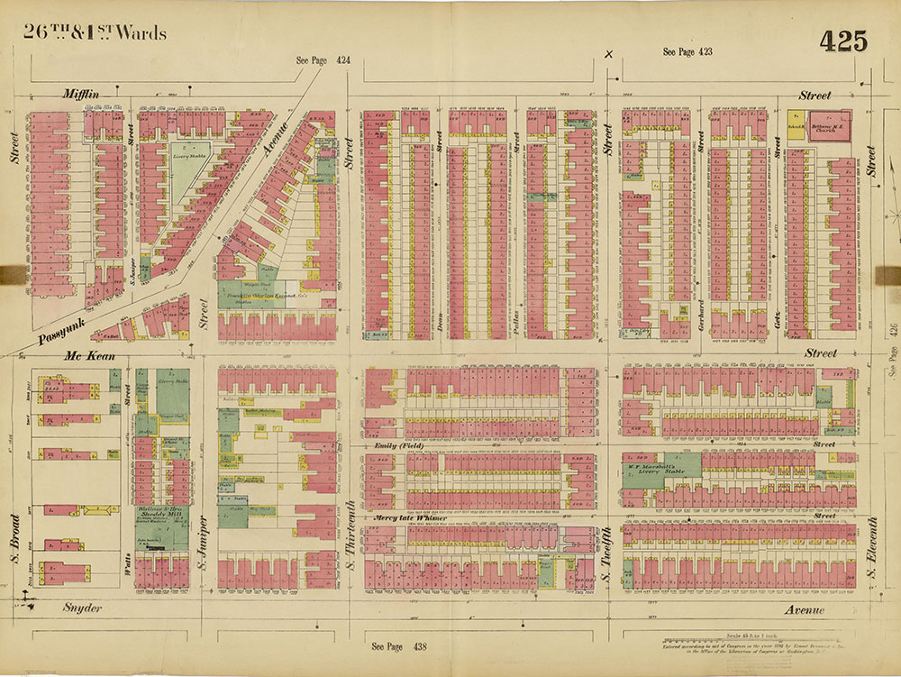 Insurance Maps of the City of Philadelphia, 1893-1895, Plate 425