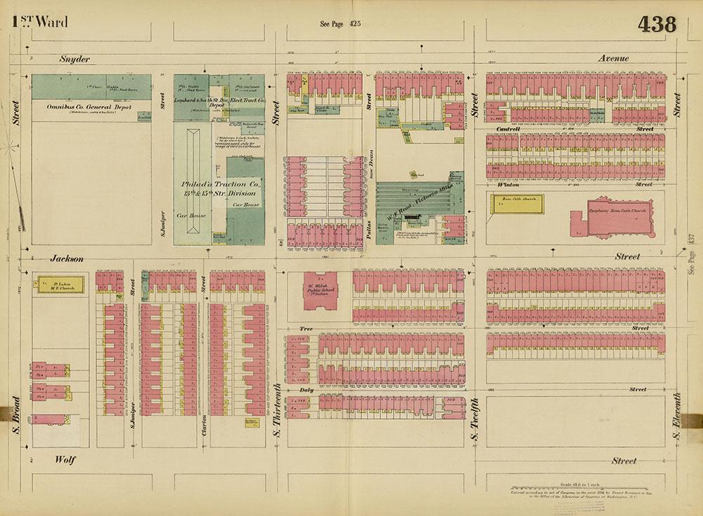 Insurance Maps of the City of Philadelphia, 1893-1895, Plate 438