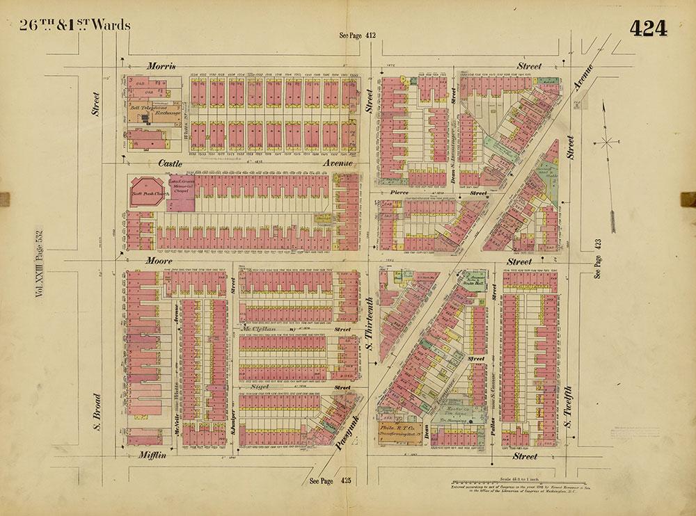 Insurance Maps of the City of Philadelphia, 1893-1914, Plate 424