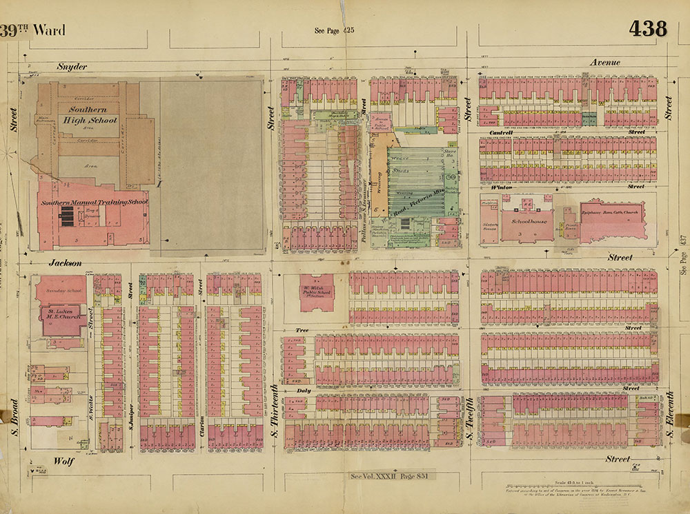 Insurance Maps of the City of Philadelphia, 1893-1914, Plate 438
