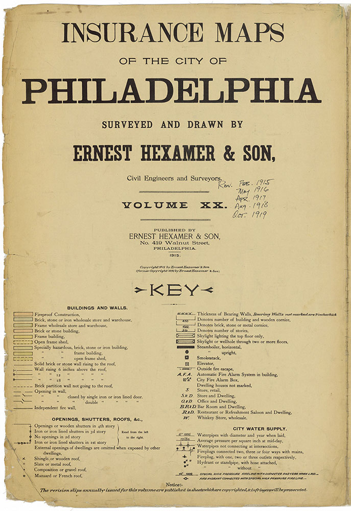 Insurance Maps of the City of Philadelphia, 1915-1919, Title Page