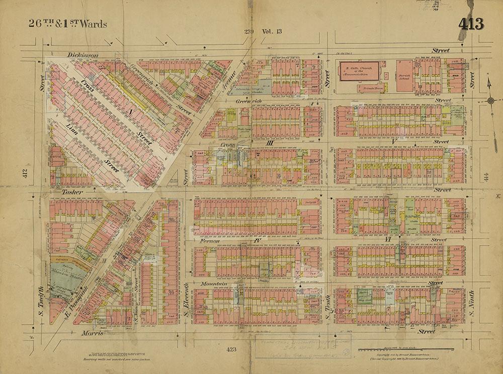 Insurance Maps of the City of Philadelphia, 1915-1919, Plate 413