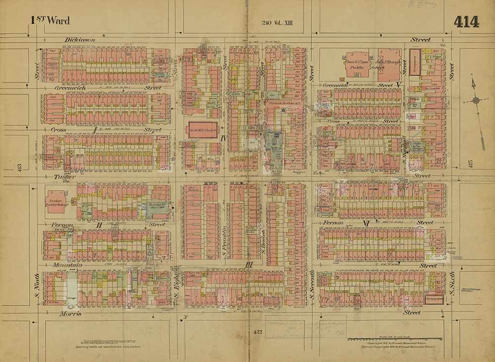 Insurance Maps of the City of Philadelphia, 1915-1919, Plate 414