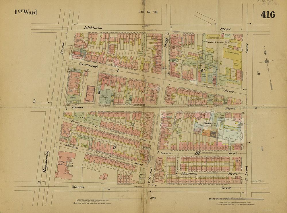 Insurance Maps of the City of Philadelphia, 1915-1919, Plate 416
