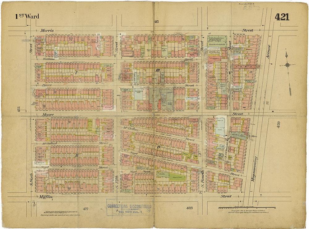 Insurance Maps of the City of Philadelphia, 1915-1919, Plate 421