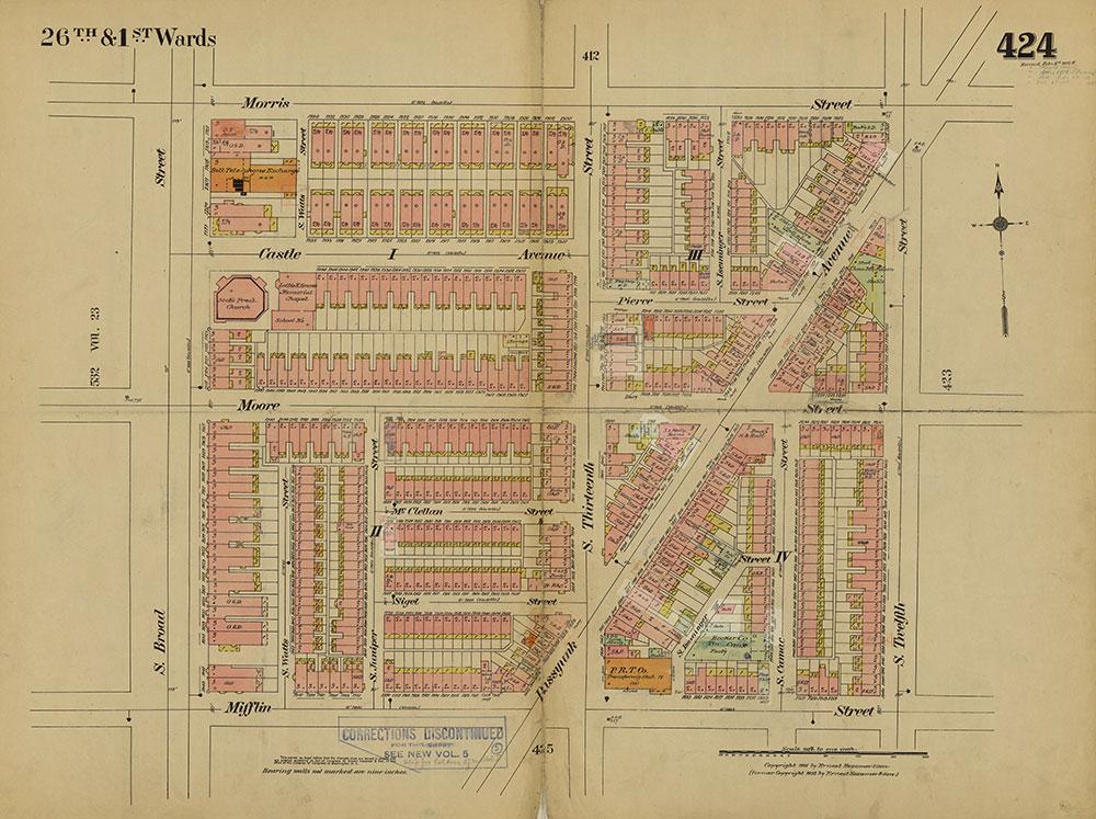 Insurance Maps of the City of Philadelphia, 1915-1919, Plate 424