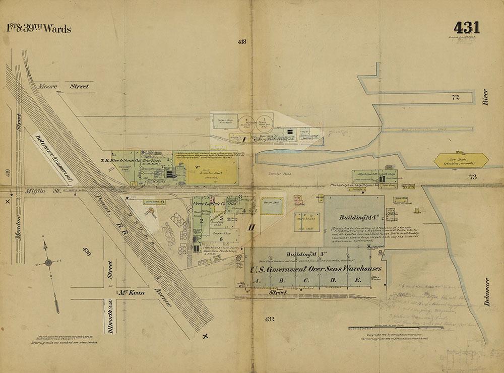Insurance Maps of the City of Philadelphia, 1915-1919, Plate 431