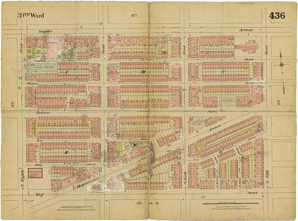 Insurance Maps of the City of Philadelphia, 1915-1919, Plate 436