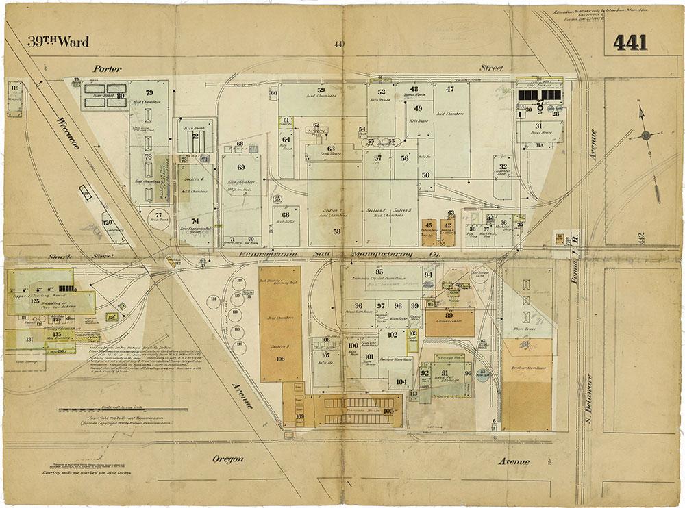 Insurance Maps of the City of Philadelphia, 1915-1919, Plate 441