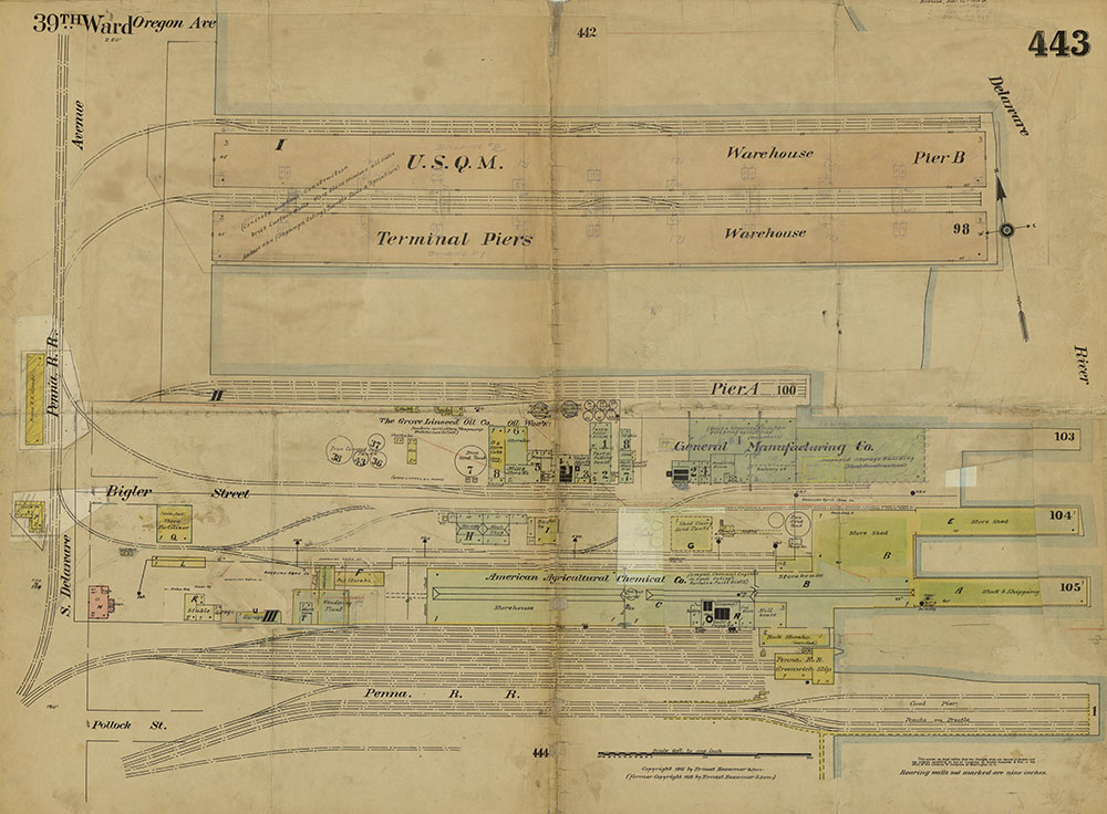 Insurance Maps of the City of Philadelphia, 1915-1919, Plate 443