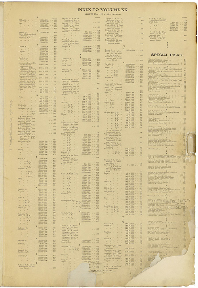 Insurance Maps of the City of Philadelphia, 1915-1920, Street Index & Special Risks