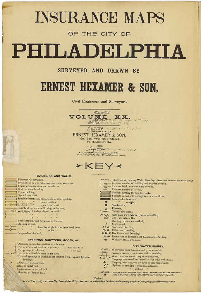 Insurance Maps of the City of Philadelphia, 1915-1920, Title Page