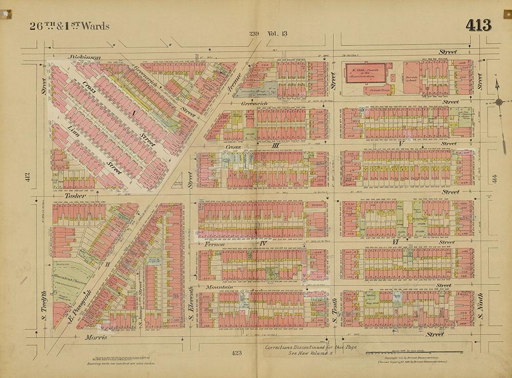 Insurance Maps of the City of Philadelphia, 1915-1920, Plate 413