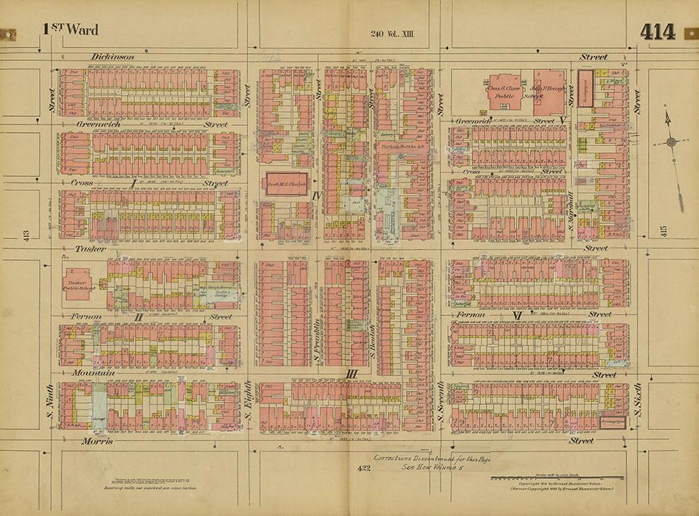 Insurance Maps of the City of Philadelphia, 1915-1920, Volume 20, Plate 414