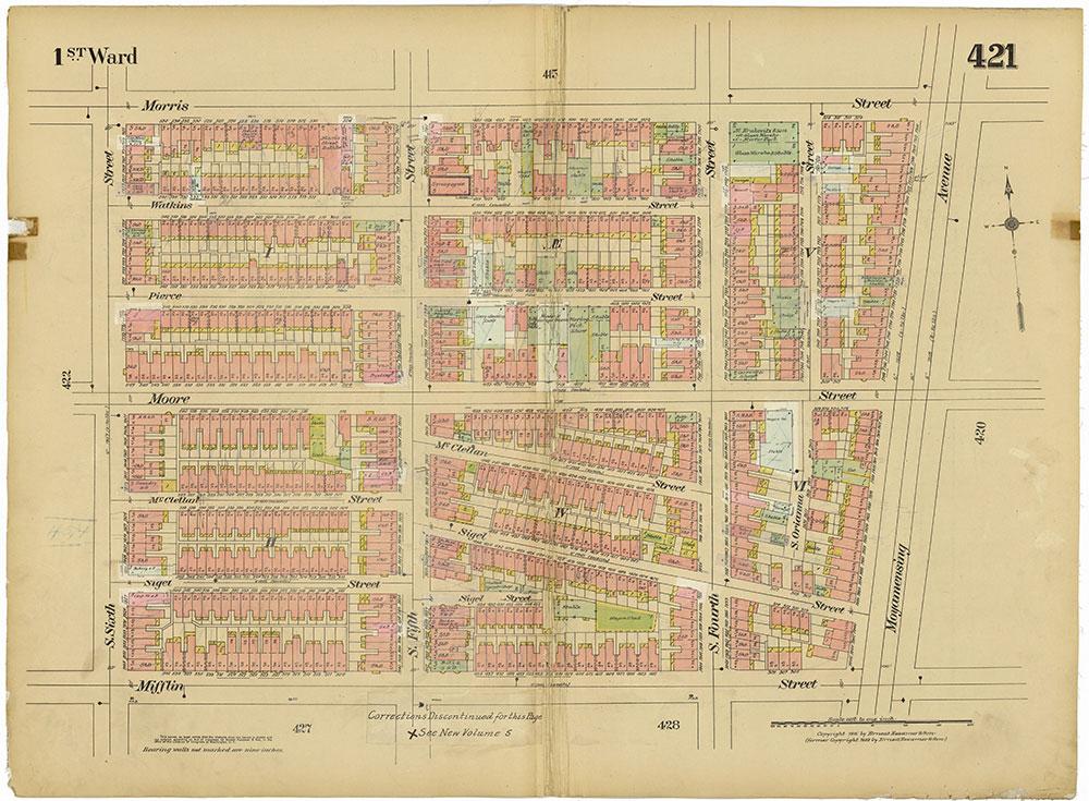 Insurance Maps of the City of Philadelphia, 1915-1920, Plate 421