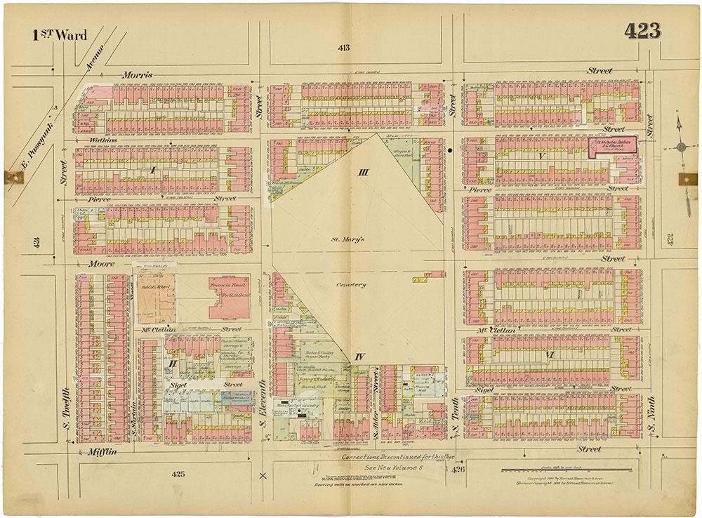 Insurance Maps of the City of Philadelphia, 1915-1920, Plate 423