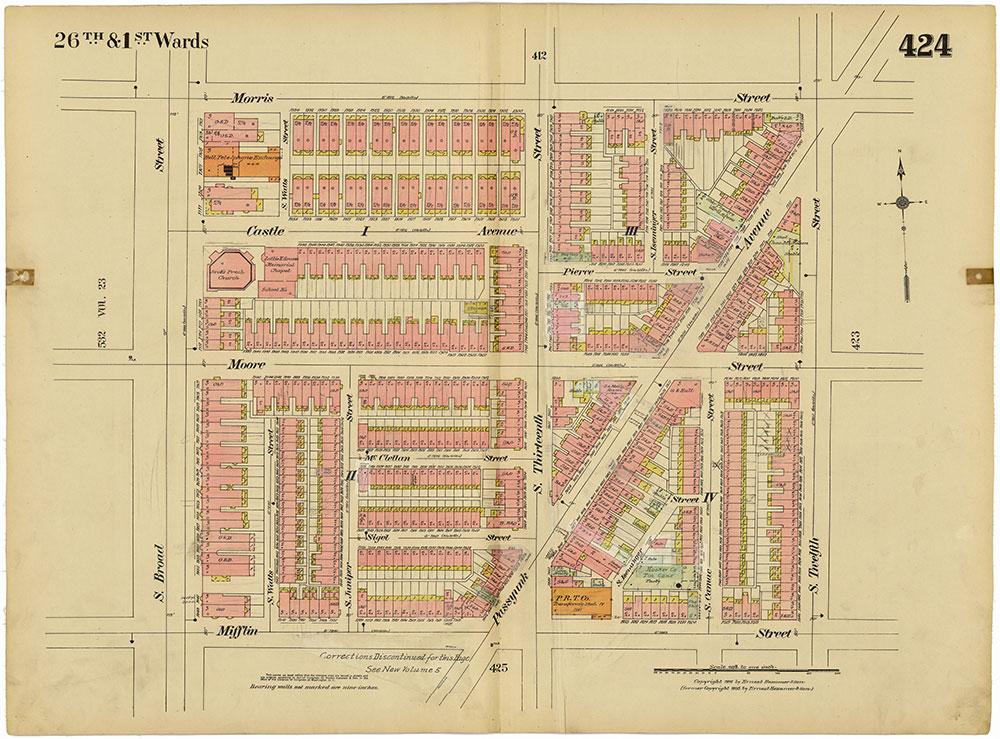 Insurance Maps of the City of Philadelphia, 1915-1920, Plate 424