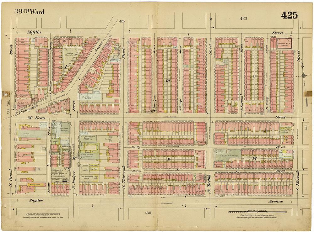 Insurance Maps of the City of Philadelphia, 1915-1920, Plate 425