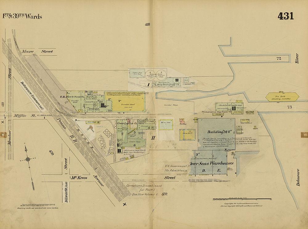 Insurance Maps of the City of Philadelphia, 1915-1920, Plate 431