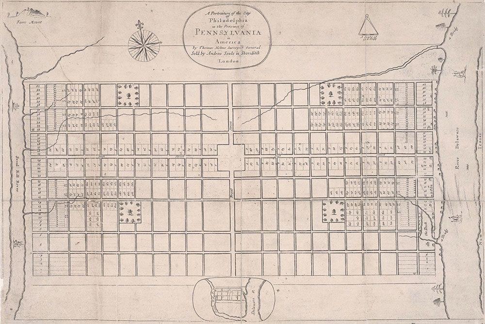 Portraiture of the City of Philadelphia in the Province of Pennsylvania in America, 1683, Map