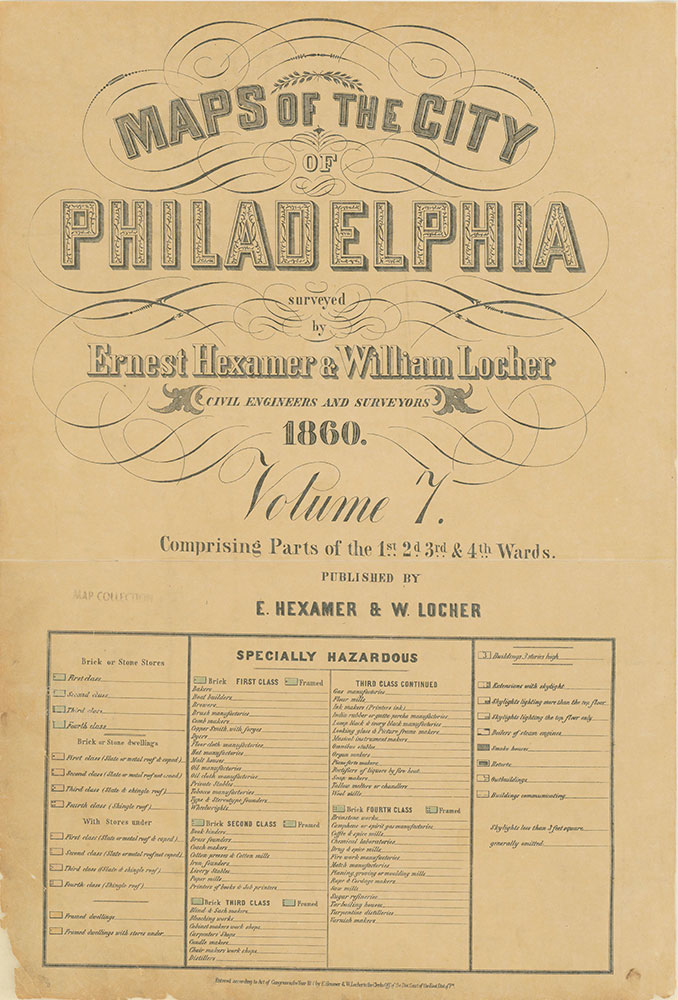Maps of the City of Philadelphia, 1858-1860, Title and Legend