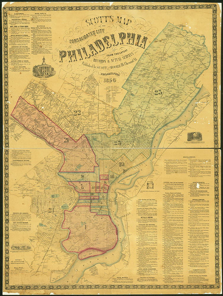 Scott's Map of the Consolidated City of Philadelphia, 1856, Map