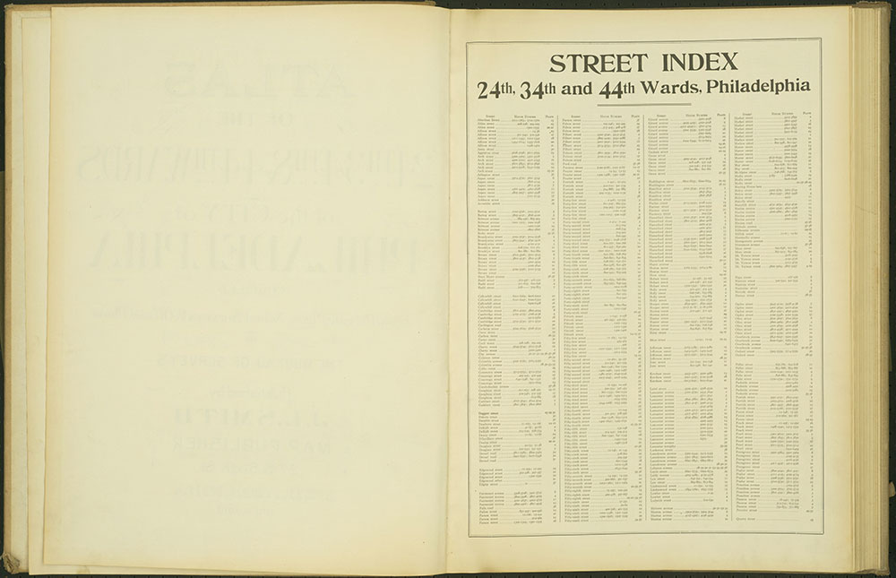 Atlas of the 24th, 34th & 44th Wards of the City of Philadelphia, 1911-1912, Street Index A-Q