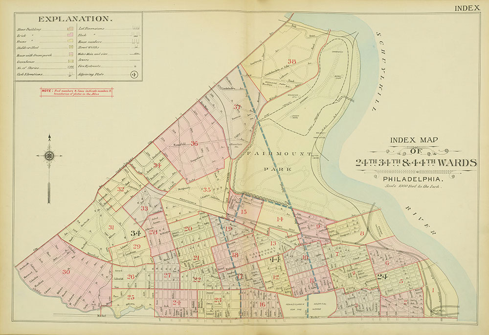 Atlas of the 24th, 34th & 44th Wards of the City of Philadelphia, 1911-1912, Map Index
