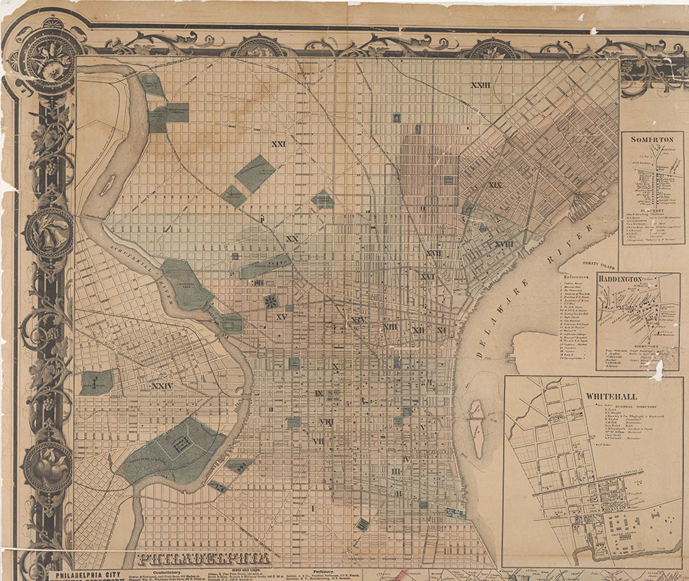 Map of the Vicinity of Philadelphia, from Actual Surveys, 1861, Plate 1-A: Philadelphia (part)
