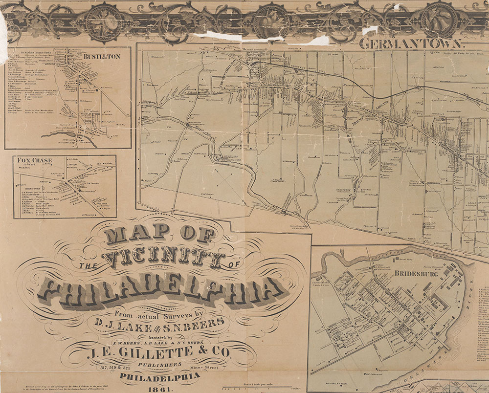 Map of the Vicinity of Philadelphia, from Actual Surveys, 1861, Plate 2-A: Philadelphia (part)
