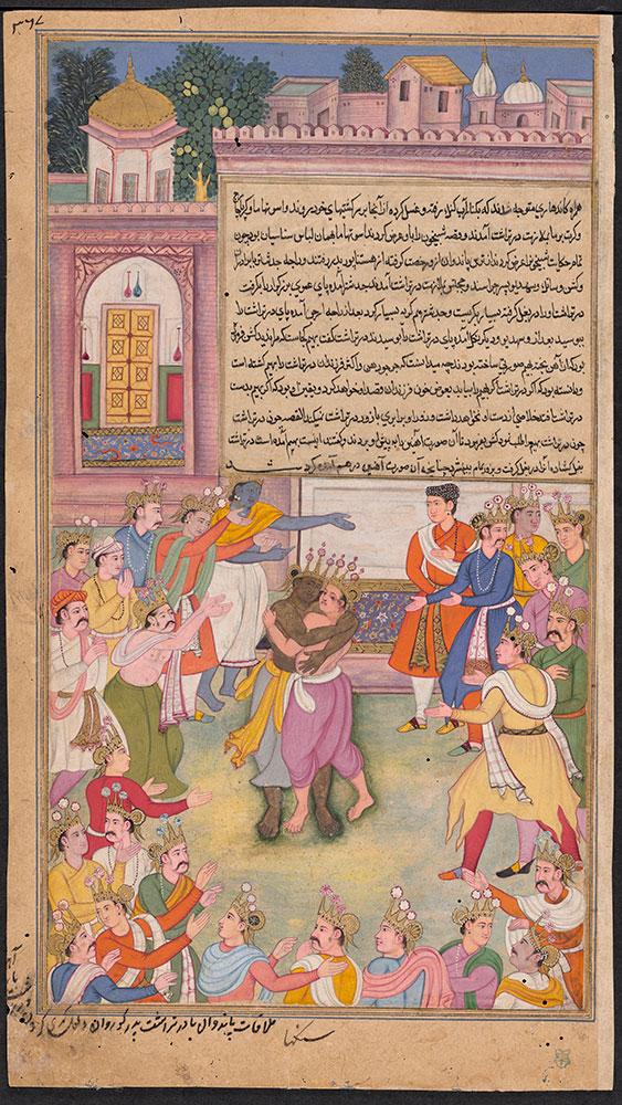Razmnama Leaf, Dhritarashtra Crushes the Iron Statue Brought in Bhima's Stead