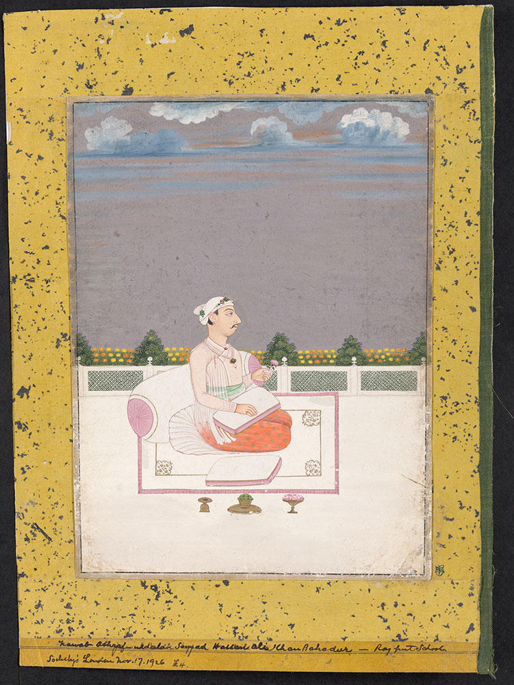 Portrait of Syed Hussain Ali Khan Seated on a Rug on a Terrace