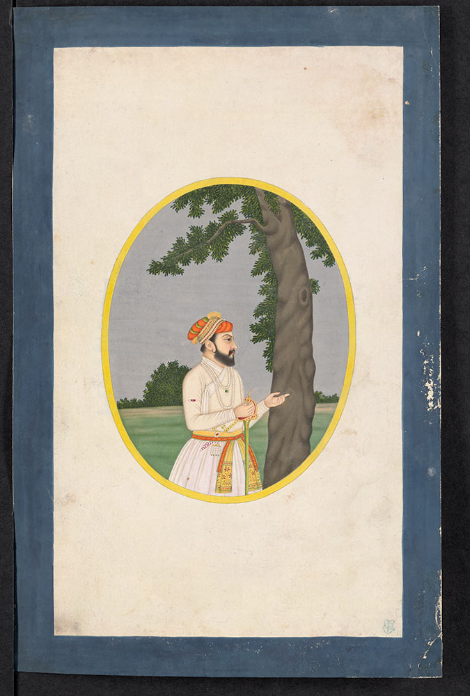 Oval Portrait of an Unidentified Mughal Nobleman by a Tree