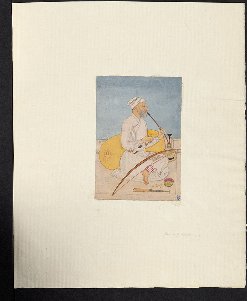 Portrait of a Seated Man with Bow Smoking a Hookah