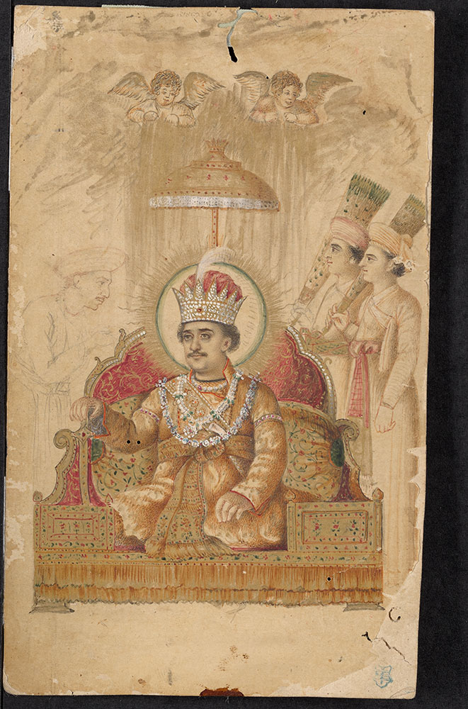 Unfinished Painting of an Emperor on His Throne