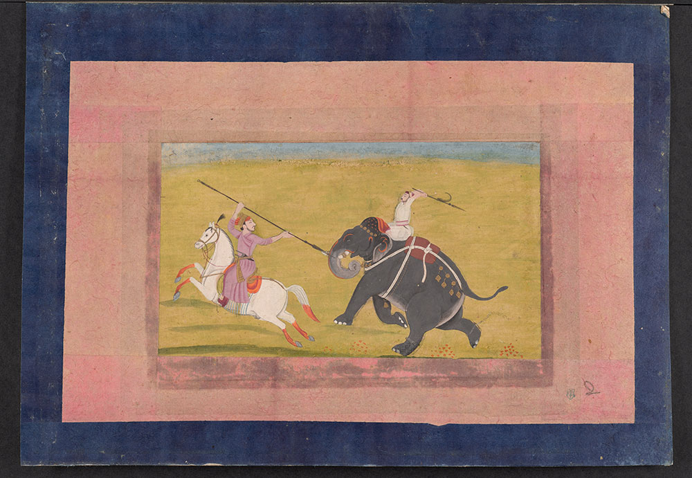 Painting of a Battle between a Man on Horseback and a Man on an Elephant