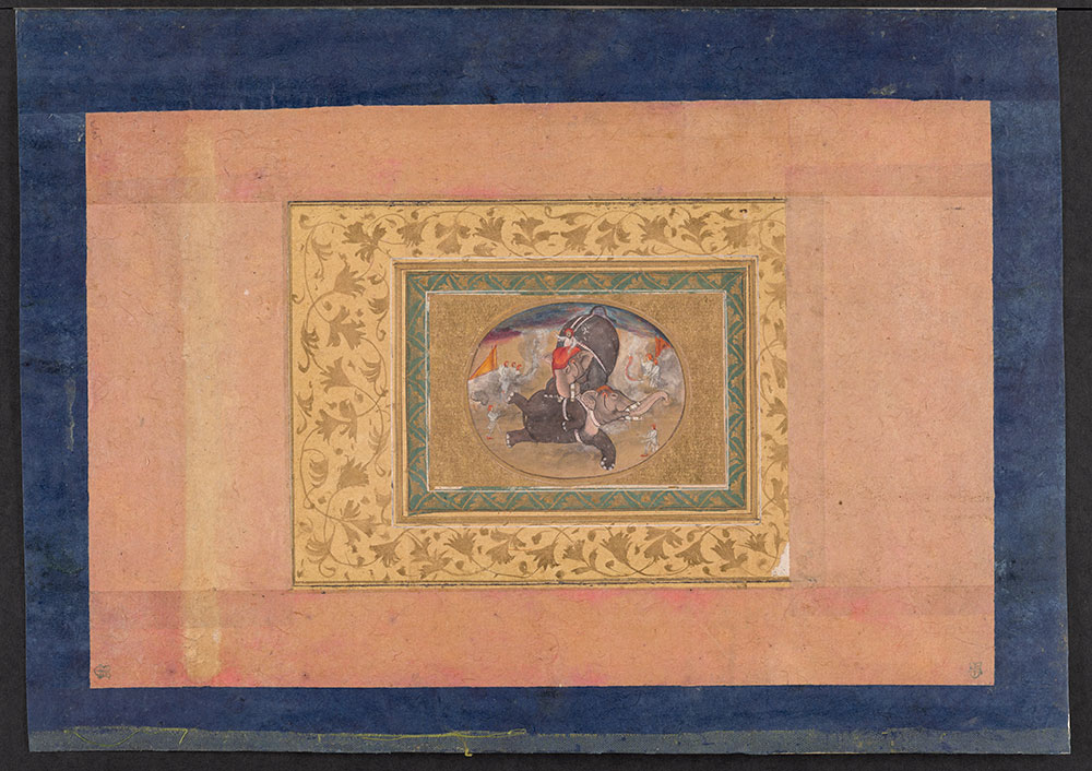 Oval Painting of Two Elephants Fighting