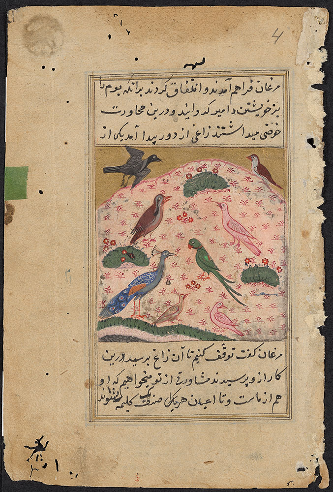 Kalila wa-Dimna Leaf, the Story of the Crow and Other Birds