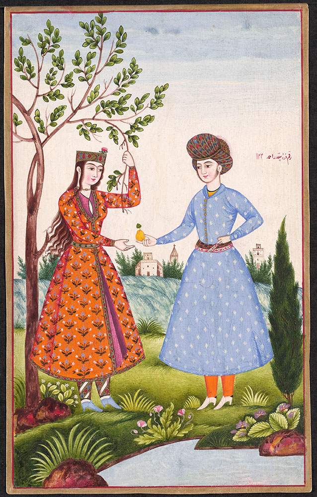 Painting of a Man Offering Fruit to a Woman Under a Tree