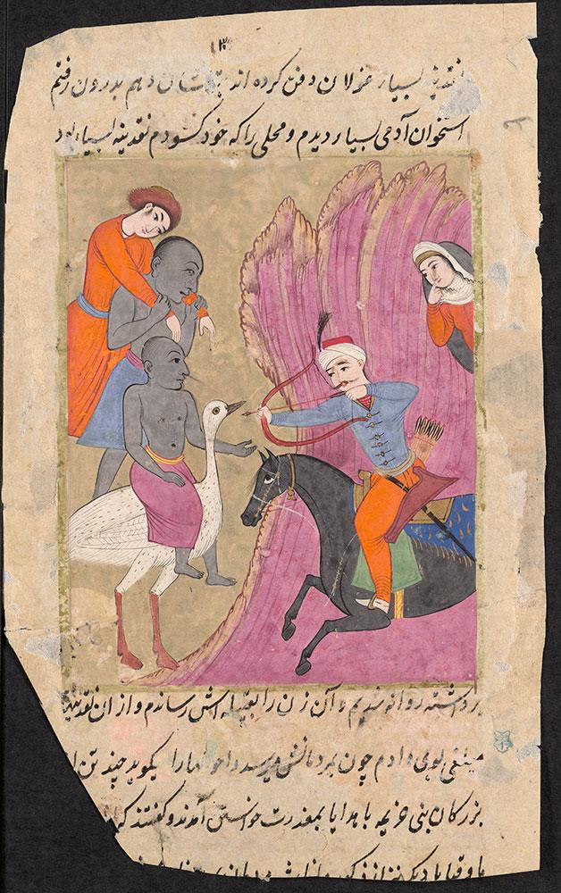 Illustration of a Man on Horseback Shooting an Arrow at a Man Riding a Large Bird