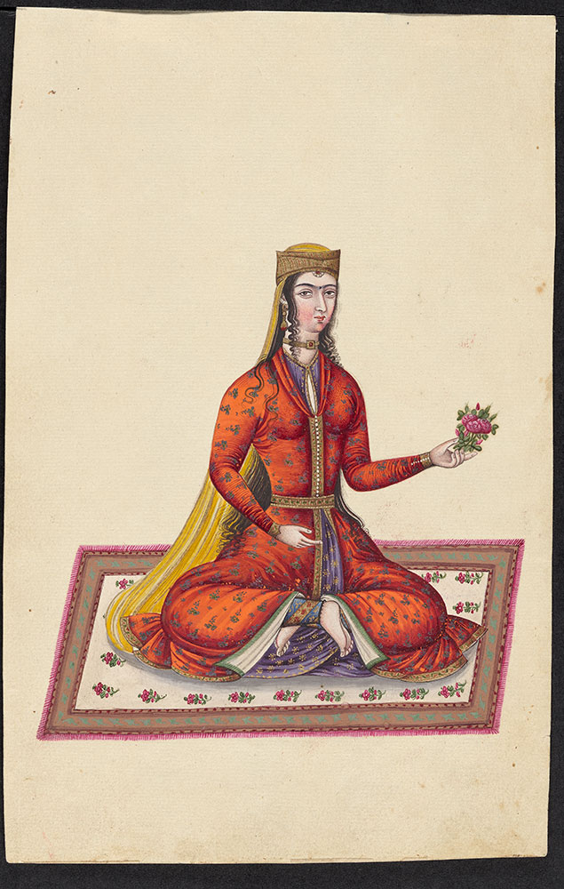 Portrait of a Woman Sitting on a Rug Holding a Bouquet